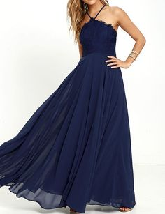 Navy Blue Prom Dress, Sexy Halter Prom Dress,