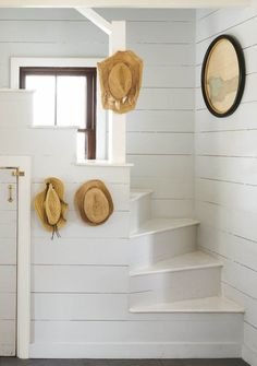 Painted shiplap stairwell