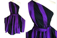 Vivienne Westwood Purple Black Taffeta Dress, Striped One Shoulder Punk Asymmetrical Party Dress, Huge Pocket Runway Occasion Cocktail Dress Prom Party Dresses, Holiday Dresses, Ball Dresses, Nice Dresses, Ball Gowns, Purple And Black Dress, Steampunk Dress, Bubble Skirt, Taffeta Dress