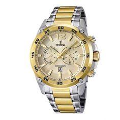 Ανδρικό ρολόι FESTINA F16681/1 με χρονογράφο, 24ωρη ένδειξη, ημερομηνία, κίτρινο καντράν με δίχρωμο επίχρυσο & ατσάλινο μπρασελέ | ΤΣΑΛΔΑΡΗΣ στο Χαλάνδρι #Festina #κιτρινο #μπρασελε #ρολοι Plaque, Casio Watch, Unisex, Watches, Sports, Stretch Bracelets, Bicolor Cat, Locs, Accessories