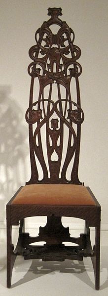 Oak chair made by Charles Rohlfs, 1898-99