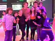 Here's the fantastic cast of Stranger Things at a bowling alley.