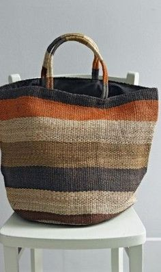 Over-sized Jute Market Bag Next cool market bag in grays and neutrals.would love this as a beach bag!a striped bag great for fall color. hit the farmer's market and then the cider mill and pumpkin patch with it. My Bags, Purses And Bags, Striped Bags, Basket Bag, Summer Bags, Beautiful Bags, Handmade Bags, Fashion Bags, Fashion Trends