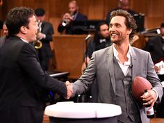 A football, a beer and a firm handshake – could Matthew  McConaughey be any more manly? The Interstellar star thanks  Jimmy Fallon (and melts our hearts) while visiting The Tonight Show in New York City on Thursday for a game of Facebreakers.