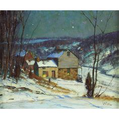 """The Neighbor's House,"" George William Sotter, oil on board, 10 1/8 x 12 1/8"", private collection."