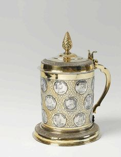 German silver partially gilt coin-set tankard. Unmarked, ca. 1700.
