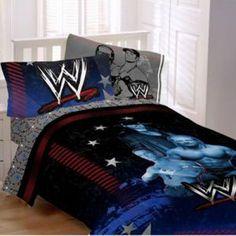 WWE bedroom decor - Bedroom A Wwe Bedroom, Boys Bedroom Decor, Bedroom Themes, Bedroom Art, Bedroom Ideas, Bedrooms, Twin Bed Comforter, Wwe Main Event, Flat Sheets