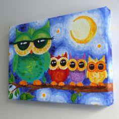 Nursery Art COLORFUL OWL FAMILY 7x5 Acrylic on Canvas by nJoyArt