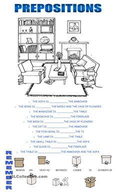prepositions - English ESL Worksheets for distance learning and physical classrooms Teaching English Grammar, English Grammar Worksheets, Grammar Lessons, Teaching Spanish, Kids English, English Lessons, Learn English, French Lessons, Spanish Lessons