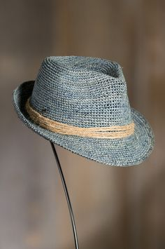 Kingwood Crocheted Raffia Fedora Hat by Overland Sheepskin Co. (style  75100) Crochet Adult 2853ad9bec7a