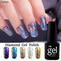 Zation Soak Off Bling Diamond Glitter UV Nail Gel Polish Led Base Top Gel Nail Polish 8ML Enamel Permanent Nail Art #Affiliate