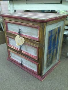 $46 - Rustic solid wood 3 drawer chest painted red, white and blue, then distressed.  **** In Booth D8 at Main Street Antique Mall 7260 E Main St (east of Power RD on MAIN STREET) Mesa Az 85207 **** Open 7 days a week 10:00AM-5:30PM **** Call for more information 480 924 1122 **** We Accept cash, debit, VISA, Mastercard, Discover or American