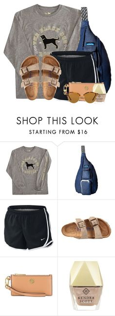 """Good morning poly"" by flroasburn ❤ liked on Polyvore featuring Kavu, NIKE, Birkenstock, Tory Burch, Kendra Scott and Ray-Ban"