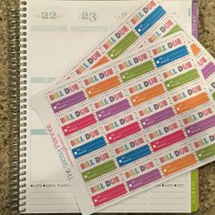 NEW! D2 Bill Tracker Stickers for Erin Condren Life Planner Weekly Spread, Set of 40 Rainbow Polka Dot