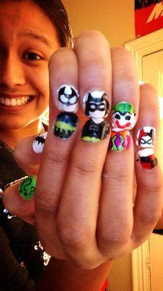 Batman nail design :) Batman Nail Designs, Batman Nail Art, Nail Art Designs, Dc Comics, Joker, My Nails, Nailart, Beauty, Nail Ideas