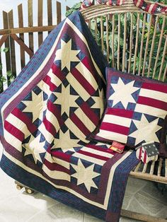 Stars and Stripes Forever I free quilting pattern of the day from freepatterns.com 8/15/13