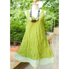 Two Layer V Neck Sleeveless Cotton Dress in Green by oOlives, $38.20