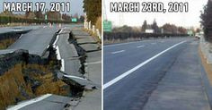 Talking about a hard-working nation. In Italy it may take months if not years.  How long would it take to fix this road in your country?