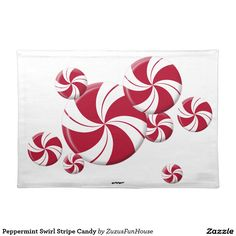 Peppermint Swirl Stripe Candy Cloth Place Mat