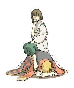 Hahaha howl and haku. Ghibli