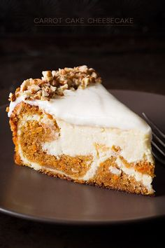 Two of my favorite cakes come together to make the ultimate dessert, this decadent carrot cake cheesecake. If you like carrot cake or cheesecake, this is the best of both. Carrot Cake Cheesecake, Cheesecake Recipes, Dessert Recipes, Strawberry Cheesecake, Carrot Cake Cupcakes, Samoa Cheesecake, Easter Cheesecake, Carrot Cakes, Cheesecake Cupcakes