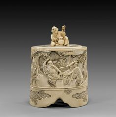 ANTIQUE JAPANESE CARVED IVORY BOX.  We love 18th century decorative antiques at Renaissance Fine Jewelry and Renaissance Fine Antiques of New England. www.vermontjewel.com. Visit us in Vermont, eBay or Ruby Lane.