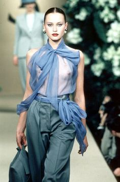 Yves Saint Laurent - Haute Couture - Runway Collection - Women Spring / Summer 1999 - womens silk shirts and blouses, navy blue sleeveless blouse, dress blouses for women *ad