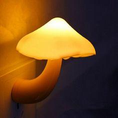 Mini Mushroom Wall Night Light Light-controlled Bedroom Lamp at Banggood