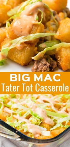 casserole recipes Big Mac Tater Tot Casserole is an easy dinner recipe that starts out with a base of ground beef, onions and dill pickles, all tossed in a copycat Big Mac sauce, and then topped with cheddar cheese and tater tots. Tater Tot Recipes, Crock Pot Recipes, Easy Casserole Recipes, Easy Dinner Recipes, Easy Meals, Cooking Recipes, Dinner Ideas, Kitchen Recipes, Easy Beef Recipes
