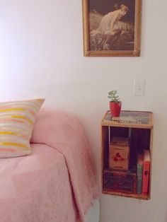 Fritz is Fine: MAKE IT: Vintage crate to floating nightstand/A small spaces idea