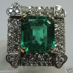 Colombian Emerald & Diamond Engagement Ring Solitaire 18K E-10.12CT D-3.40CT
