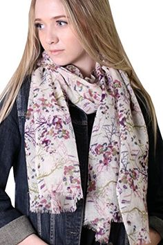 Anika Dali Women's Magical Woodland Delicate Floral Scarf, Soft Natural Wool. Enchanting Woodland multicolor print shawl, featuring colorful flowers, branches, berries, on lightweight wool base in ivory color. Exquisite and intricate print, compliments galore. Pair it with jeans or an evening dress, versatile and flattering, wear it to work or just for going out, great travel scarf. Beautiful shades of purple, green, midnight blue on a neutral and versatile ivory base. Adorable birthday…