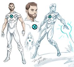 """""""ICEMAN redesign I think it's ironically hard to make Bobby look cool, so I tried the Nightcrawler approach and gave him a beard to go with the dad jokes. And kept the palette limited to his iconic white and cyan. Marvel Dc, Marvel Comics, Marvel Comic Universe, Comics Universe, Marvel Heroes, X Men, Iceman Marvel, Super Hero Outfits, Mundo Comic"""