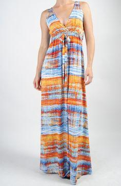 Aqua Plaid Tie Waist Maxi #veronicam #mapelboutique