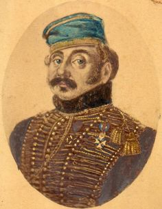 """This is my ancestor Nicolas Thirion .  He served with Napoleons Grande Armee. In 1812 he wrote: """"Never had more beautiful cavalry been seen ! Never had the regiments reached such high effectives. And never had cavalry been so well mounted."""" In 1814 he joined the  Netherlands Hussar Regt no 6 and fought with the Allies against the French at Quatre Bras (Waterloo campaign) in 1815. He is depicted here in the uniform of the 6th Hussars wearing the Order of William, the highest Dutch decoration."""