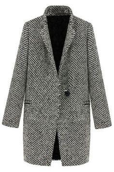ラペル ポケット千鳥格子灰色のコート ¥3,800