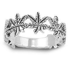 Plant of Longevity Marijuana Ring Sterling Silver 925