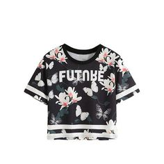 Summer T-shirt Women Black Floral and Butterfly Print Casual Varsity Tops New Fashion Short Sleeve T-shirt