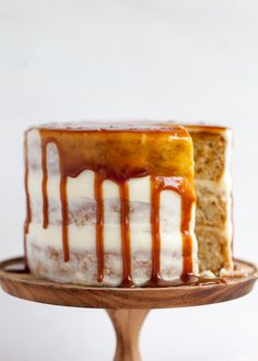 A light apple sour cream cake is paired with goat cheese frosting and salted caramel drizzle. A cake recipe to celebrate fall baking, apple season, Thanksgiving and more. Apple Sour Cream Cake, Fresh Apple Cake, Cupcakes, Cake Cookies, Cupcake Cakes, Just Desserts, Delicious Desserts, Dessert Recipes, Cake Blog