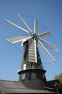 Heckington Windmill is the only 8-sailed tower windmill still standing in the United Kingdom. It was built in 1830. In 1891 a Mr John Pocklington of Wyberton mill had bought the eight-sailed mill cap with gear of the 78-year-old defunct Tuxford's mill (built in 1813) at auction. He came across the wrecked Heckington mill, & from 1891 -1892, he fitted the white onion-shaped & fantail-driven Tuxford's Mill cap to the Heckington Mill & set it working for the following 54 years.