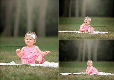 Milestone, 1, year old, one, birthday, little girl, toddler, photos, pictures, outdoors, park, pink, dress, white, headband, woods