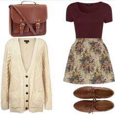 This is all probably stuff I would wear-- not in the market for cardigans/purses/shoes, but it's definitely a general sense of my style. Burgundy and florals are a major plus!