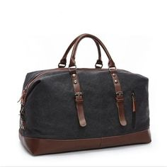 cdcc5fe88f0  EBay  Fushan Canvas Leather Men Travel Bags Carry On Luggage Bags Men  Duffel Bags
