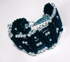 This basic design has lots of personallity. Wear it with a gown or with your jeans. It is hand made and there is only one just like it. If you love the design and would like another color, sen Micro Macrame, Macrame Bracelets, Silver Beads, Gown, Jeans, How To Wear, Handmade, Color, Jewelry