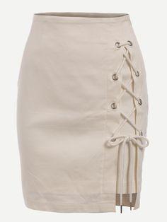Eyelet Lace-Up Skirt
