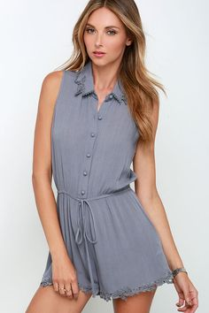 Doily Grind Grey Lace Romper at Lulus.com!