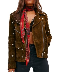 Understated Leather Star Studded Leather Jacket at Free People Clothing Boutique Tomboy Fashion, 70s Fashion, Autumn Fashion, 70s Mode, Leather Jackets Online, Studded Leather Jacket, Suede Leather, Style Personnel, Street Style