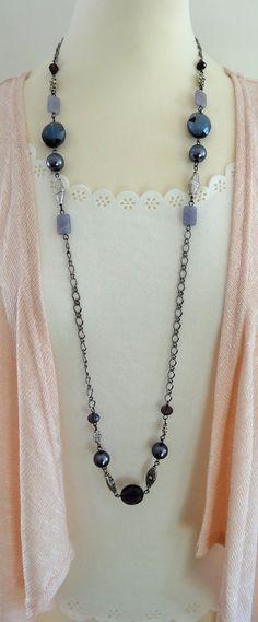 Long Beaded Necklace Long Purple Necklace Purple Beaded