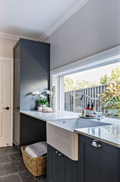 This stunning residential project features our signature Novi Butler sinks, versatile enough for use both the kitchen and laundry. Laundry Room Remodel, Laundry In Bathroom, Kitchen Remodel, Laundry Rooms, Farmhouse Style Kitchen, New Kitchen, Laundry Room Inspiration, Shed Homes, Laundry Room Design