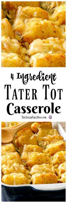 4 Ingredient Tater Tot Casserole that tastes really good! #tatertot #casserole #potatoes #easy #recipe #comfort #food